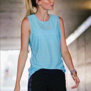ZYIA Active Sky Blue Luxe Muscle Tank Top